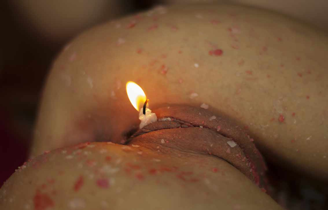 Candle wax on pussy