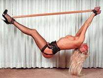 Hanged blonde sub