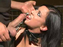 Brunette sub tied added to anal driller