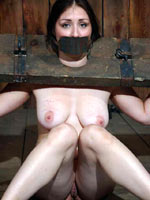 Subgirl stockaded and tortured