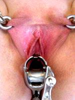 Pierced pussy spreading