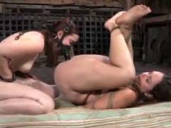 Chagrined sluts get dildo