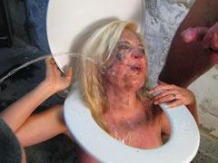 Blonde toilet slave