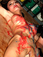 Asian girl in colored wax play