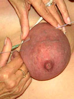 Long needles pricking tits
