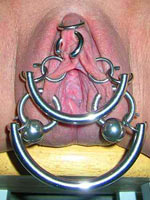 Pussy pierced with metal rings