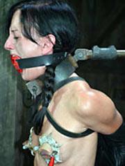 Brunette shackled and tortured