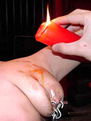 Wax play for breasts