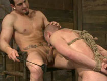 Male sub gets tied up