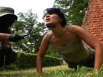 Cruel sergeant train the soldier